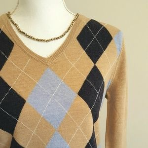 Brooks Brothers 346 Merino Argyle Sweater - Size M
